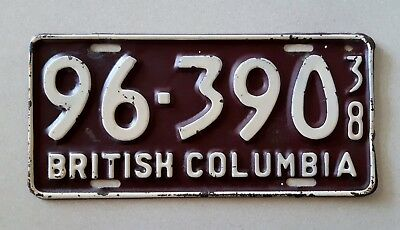 1938 British Columbia License Plate