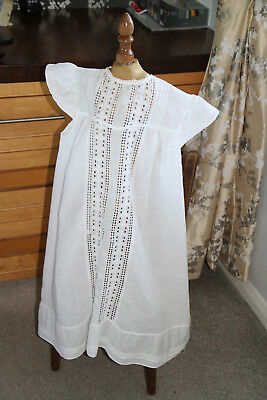 Cotton Embroiderie Anglaise Victorian or Edwardian Child's Over-Dress or Apron