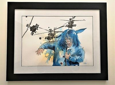 """Original painting by Lora Zombie """"Girl and Helicopters"""""""