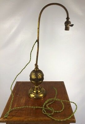 Early 1800s Brass Antique Ornate Table Lamp W/ Bryant Socket Rare!