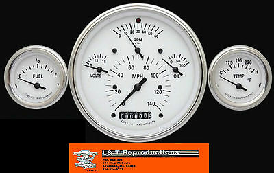 1957 Chevy Classic Instruments Gauges Black 3 Gauge Set Made In USA