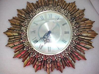 Vintage Seth Thomas starburst clock  gold guilt large french style wall