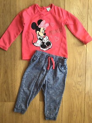 Disney Baby Minnie Mouse Baby Girl Tracksuit Outfit Joggers & Sweatshirt 12-18 M