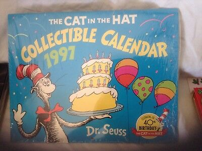 1997 DR. SEUSS Collectible CALENDAR CAT IN THE HAT Sealed NEW 40th Birthday