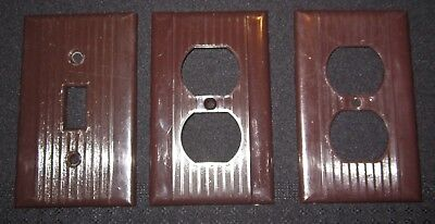 3 Vtg  Ribbed Brown Bakelite Light Toggle Switch Plate outlet Covers Art Deco