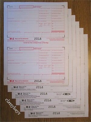 2018 IRS Tax Form W-2 Wage Stmt, single sheet LASER set for 2 employees, 6-pt