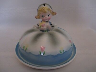 Lefton ESD Japan Hand Painted  Dutch Girl Butter Dish #22076