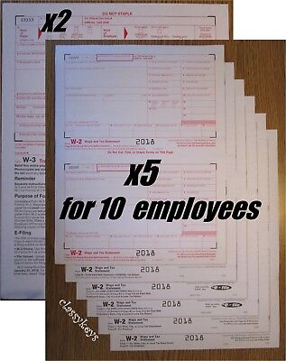 2018 IRS Tax Form W-2 Wage Stmts LASER 10 employees +(2)W3 #TF5650 6-pt >>NO Env