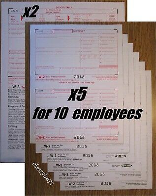 2018 IRS Tax Forms W-2 Wage Stmt 6-pt LASER for 10 employees + Forms W-3 #TF5650