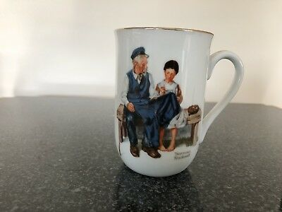 """Norman Rockwell """"The Lighthouse Keeper's Daughter"""" Porcelain With Gold Trim Cup"""