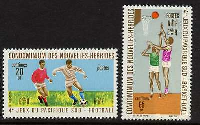 New Hebrides Fr 165-6 MNH South Pacific Games, Soccer, Basketball, Sports
