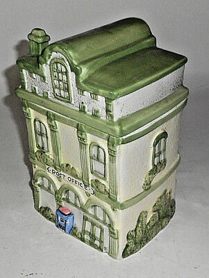 "Vintage GREEN  POST OFFICE 9 1/2"" T House Cookie Jar"