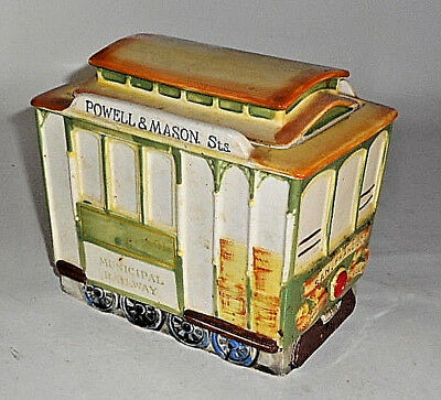 "Vintage YELLOW STREET TROLLEY 7"" LONG SAN FRANCISCO MUNICIPAL RR Cookie Jar"