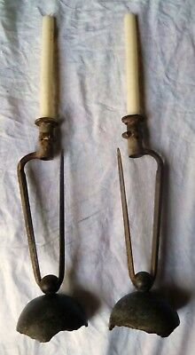 1850s ANTIQUE CANDLESTICKS CRIMEAN WAR FRENCH RUSSIAN CANNON BALL SHELL no sword