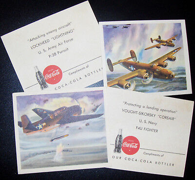 WW2 Coca Cola Military Aircraft Card Series - Lot of 4 Fighters and Bombers