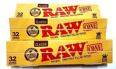 3 Packs X 32 = 96 Pcs RAW Classic Hemp, King Size Pre Rolled Cones Rolling Paper