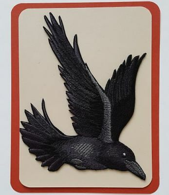 "Raven, Crow Flying, Bird Embroidered Patch 4.8""x 5"""