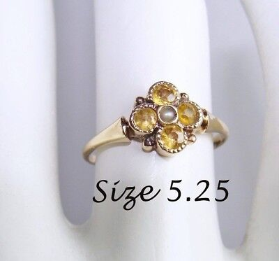 Art Deco Antique 10K Yellow Gold Citrine (?) Seed Pearl Ring 5.25, 5 1/4, Vtg