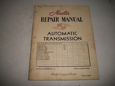 """1951 Automatic Transmission (Fordomatic)  """"master Repair Manual"""" Ford Meteor"""