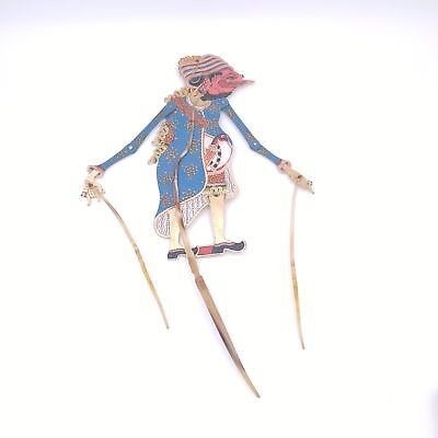 Vintage Indonesian Shadow Puppet - Blue Robe with Bird