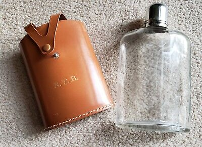 """Rumpp VTG Leather Glass Flask Brown Stainless Steel Cap 7 1/2"""""""