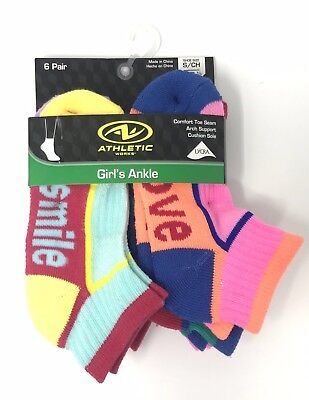 ATHLETIC WORKS Girls' Cushion Ankle Socks With Hashtags - 6 Pairs