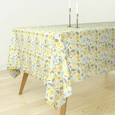 Tablecloth Floral Flowers Bouquet Pretty Mint Gold Yellow Cotton Sateen