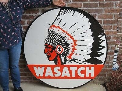Very LARGE Original Double Sided Wasatch Porcelain Sign 48 Inches