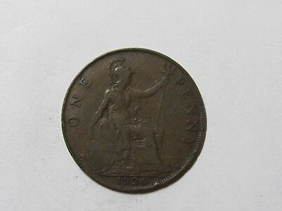 Old Great Britain Coin - 1926 Penny - Circulated, scratches, rim dings