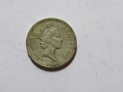 Old Great Britain Coin - 1990 One Pound - Circulated, discolored, scratches