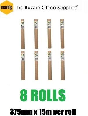 8x Brown Paper Roll [ 375mm x 15m ] [ 60gsm ] Wrap Packing Wrapping Gift Kraft