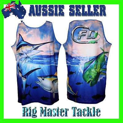 Quick Dry Ocean Deep Fishing Singlet Tank Top Quality and Comfy Adults S - 9XL