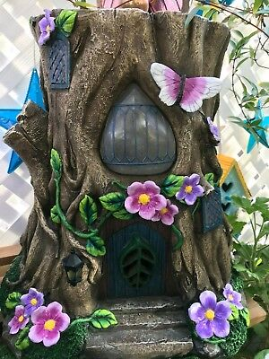 My Fairy Gardens- Solar Stump Statue -NEW in box detailed paint 1 left