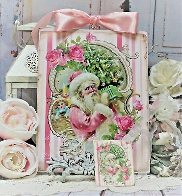 "~ Shabby Chic Vintage French Country Wall Decor Sign ""Pink Santa/Roses/Toys ~"