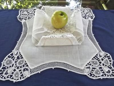 2 Antique White Linen with FAB Hand Battenburg Lace Bread Rolls Biscuits Covers