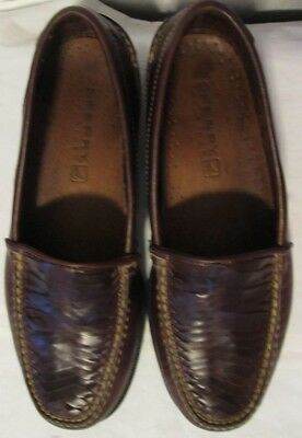 cd11c45dd46 SPERRY TOP SIDER Cordovan Brown Leather Cross Weave Dress Loafer Slip-On  Shoes 9