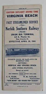 Vintage 1946 Norfolk Southern Railway Timetable Virginia Beach VA