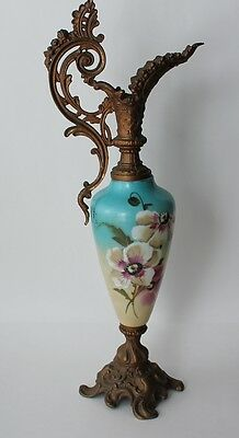 Antique Hand Painted Floral Ceramic & Gilded Metal Tall Pitcher Jug Ewer