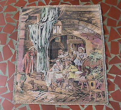 Vintage Tapestry Wall Hanging Small Rug Victorian People Drinking Men Woman Dog