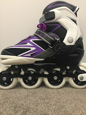 """Focus"" Purple and Black Inline Skates, Roller Blades, womens size 7-10"