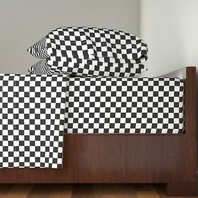 Checkers Black And White Quilting Cotton Sateen Sheet Set by Roostery