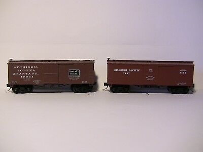 N Scale -2 X ROUNDHOUSE Oldtime 36' boxcars -ATSF and MP
