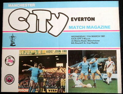 Manchester City v Everton  FA Cup 6th Round Replay  1-3-1981   with token