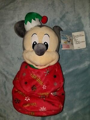 """Disney Parks Christmas Holiday Mickey Baby Plush w Blanket Pouch 10"""" Babies NwT"""