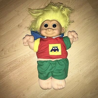 ⭐️ Vintage 90's TROLL Retro RUSS Plush 1990's DOLL TOY Yellow Hair Car Jumper ⭐️