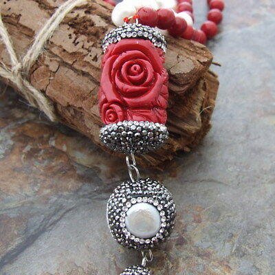 GE032802 24'' White Pearl Round Red Coral Necklace Resin Crystal Pendant