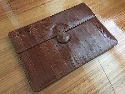 Vintage 1970s 1980s Clutch Purse Handbag, Genuine Reptile Skin Leather, Brown