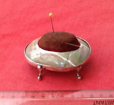 Lovely Silver And Mother Of Pearl Pin Cushion, Edwardian With Elegant Legs