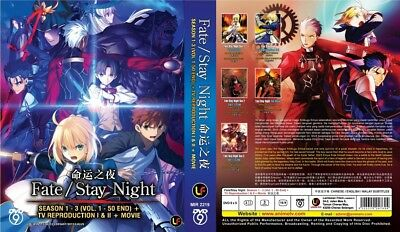 FATE STAY NIGHT Box = TV S1+S2+S3+Movie = Eps.1-37 = English Subs = 5-DVD-Set