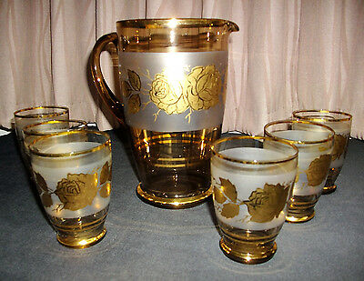 Vintage brown glass jug & 6 glasses with frosted panel & gold roses pattern